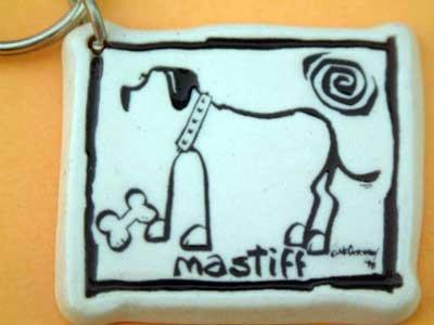 Mastiff Cavern Canine Dog Breed Stoneware Ceramic Clay Jewelry Key Chain McCartney - NEW