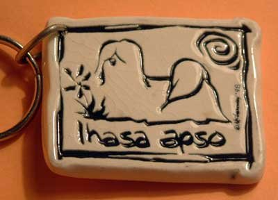 Lhasa Apso Cavern Canine Dog Breed Stoneware Ceramic Clay Jewelry Key Chain McCartney - NEW