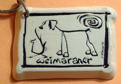 Weimaraner Cavern Canine Dog Breed Stoneware Ceramic Clay Jewelry Key Chain McCartney - NEW