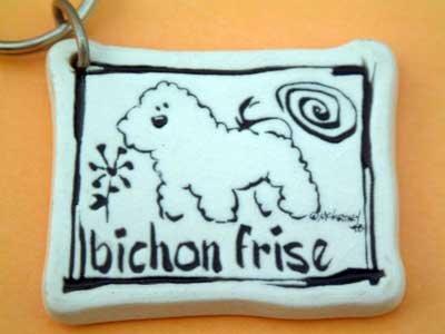Bichon Frese Cavern Canine Dog Breed Stoneware Ceramic Clay Jewelry Key Chain McCartney - NEW