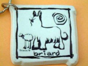 Briard Cavern Canine Dog Breed Stoneware Ceramic Clay Jewelry Key Chain McCartney - NEW
