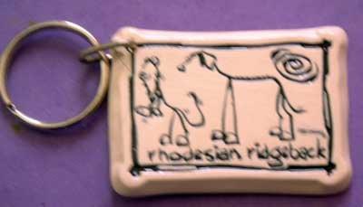 Rhodesian Ridgeback Cavern Canine Dog Breed Stoneware Ceramic Clay Jewelry Key Chain McCartney - NEW