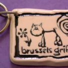 Brussels Griffon Cavern Canine Dog Breed Stoneware Ceramic Clay Jewelry Key Chain McCartney - NEW