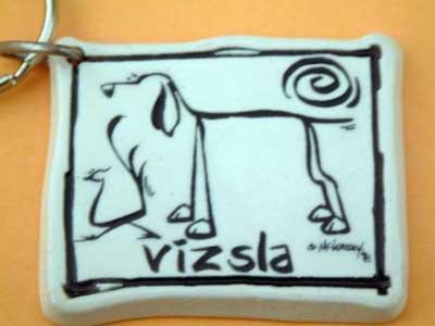 Vizsla Cavern Canine Dog Breed Stoneware Ceramic Clay Jewelry Key Chain McCartney - NEW