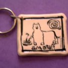 Am Staff Cavern Canine Dog Breed Stoneware Ceramic Clay Jewelry Key Chain McCartney - NEW