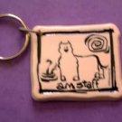 Am Staff Cavern Canine Dog Breed Stoneware Ceramic Clay Jewelry Key Chain McCartney - NEW