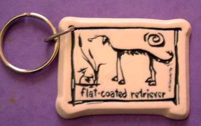 Flat Coated Retriever Cavern Canine Dog Breed Stoneware Ceramic Clay Key Chain McCartney - NEW