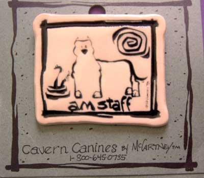 Am Staff Cavern Canine Dog Breed Stoneware Ceramic Clay Jewelry Pin McCartney - NEW