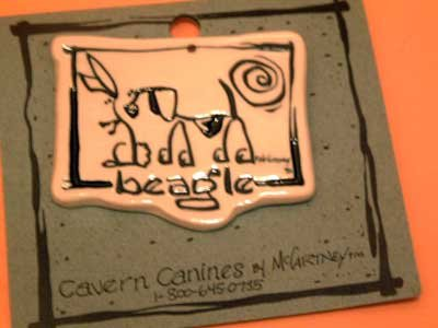 Beagle Cavern Canine Dog Breed Stoneware Ceramic Clay Jewelry Pin McCartney - NEW