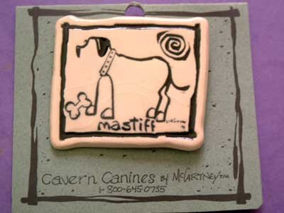 Mastiff Cavern Canine Dog Breed Stoneware Ceramic Clay Jewelry Pin McCartney - NEW