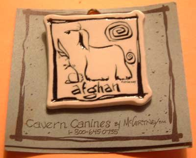Afghan Cavern Canine Dog Breed Stoneware Ceramic Clay Jewelry Pin McCartney - NEW