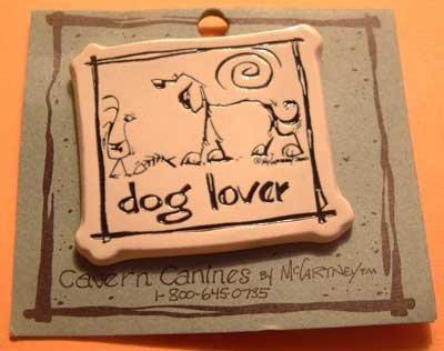 DOG LOVER Cavern Canine Stoneware Ceramic Clay Jewelry Pin McCartney - NEW