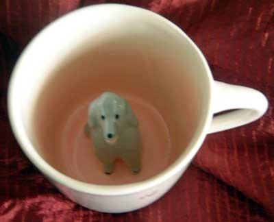 Spademan Pottery Mug Collectible SALE! : Grey Poodle Peek-A-Boo : NEW