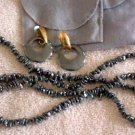 Genuine Hematite 36'' Strand Necklace & Pierced Earrings