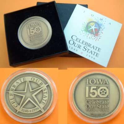 IOWA 150th Anniversary Commemorative Bronze Coin 1846-1996