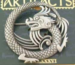 Dragon Round Fantasy JJ Jonette Jewelry Lapel Pin