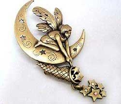 Star Catching Moon Fairy Fantasy JJ Jonette Jewelry Lapel Pin