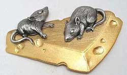 Mice on Cheese Mouse JJ Jonette Jewelry Lapel Pin