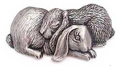 Double Bunny Rabbit Nap JJ Jonette Jewelry Lapel Pin