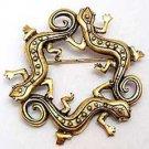 Triple Lizard Reptile Circle JJ Jonette Jewelry Lapel Pin
