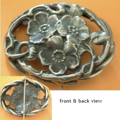 3 Flower Floral Metal Pin Vintage Collector's Jewelry