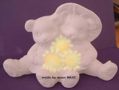 SUNFLOWER BEARS Flower Garden SILICONE Plaster Cement Wax MOLD