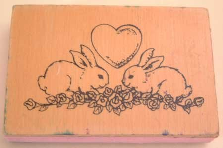 Rubber Stamp Bunny Rabbits Roses Heart Rabbit Craft Mounted