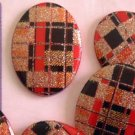 Black Red Gold Sparkle Plaid Flat Backs for Jewelry Altered Art Crafts and More!