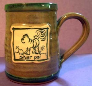 Shar Pei Cavern Canine Dog Breed Ceramic Clay Mug Cup McCartney - NEW