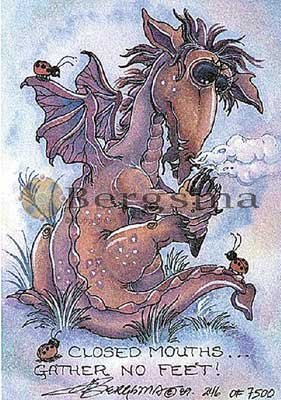 Jody BERGSMA Art DRAGON Print : Closed Mouths Gather No Feet