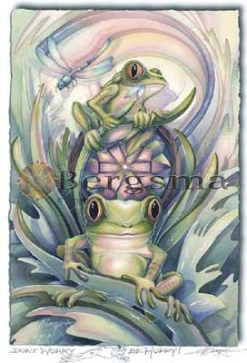 Jody BERGSMA Art Card Print : Don't Worry ... Be Hoppy!