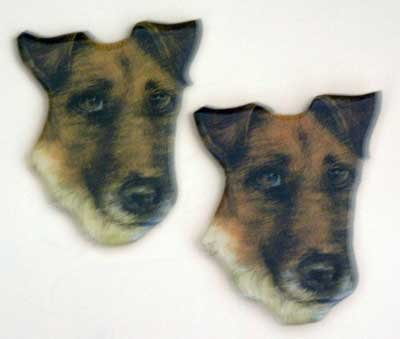 Terrier Dog Puffy Magnet NWT Set of 2