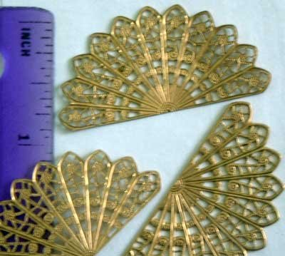 Fan Peacock Tail Raw Brass Jewelry Craft Altered Art Clay Mold Design