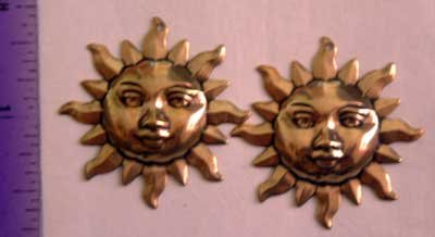 Sun w Holes Set 2 Raw Brass Jewelry Craft Altered Art Clay Mold Design