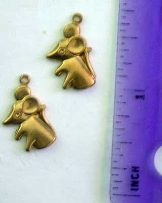 Mice Charms 2 Raw Brass Jewelry Craft Altered Art Clay Mold Design