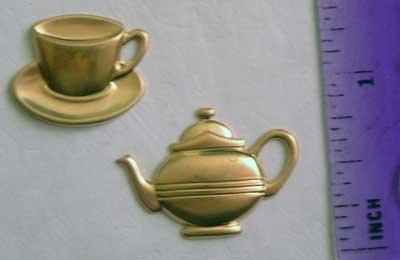 Tea Cup Pot Set Raw Brass Jewelry Craft Altered Art Clay Mold Design
