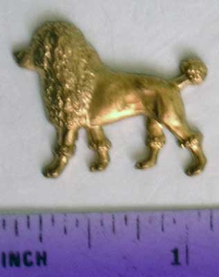 Poodle Stand Raw Brass Jewelry Craft Altered Art Clay Mold Design