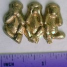 Monkey See No Evil Raw Brass Jewelry Craft Altered Art Clay Mold Design