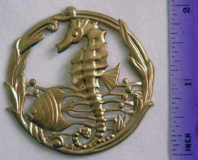 Seahorse Fish Rare Round Raw Brass Jewelry Craft Altered Art Clay Mold Design