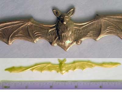 Bat Lg Raw Brass Jewelry Craft Altered Art Clay Mold Design