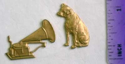 Dog Victrola Set Raw Brass Jewelry Craft Altered Art Clay Mold Design