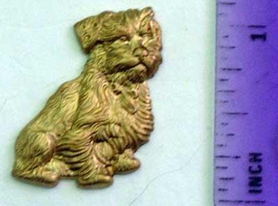 Dog Scruffy Terrier Raw Brass Jewelry Craft Altered Art Clay Mold Design