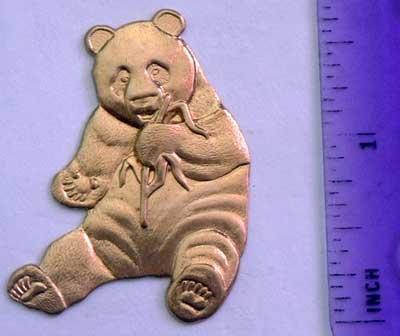 Panda Bear Raw Brass Jewelry Craft Altered Art Clay Mold Design