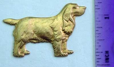 Spaniel Dog Raw Brass Jewelry Craft Altered Art Clay Mold Design