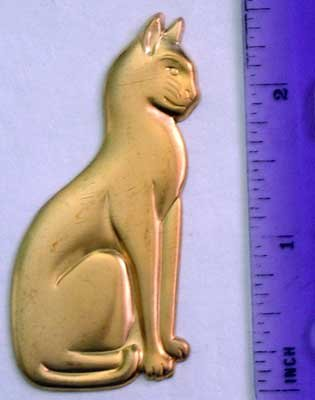 Cat Egyptian Raw Brass Jewelry Craft Altered Art Clay Mold Design