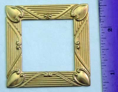Square Frame Raw Brass Jewelry Craft Altered Art Clay Mold Design