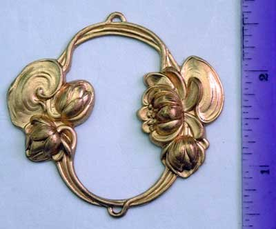 Frame Floral Oval Raw Brass Jewelry Craft Altered Art Clay Mold Design