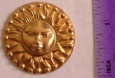 Sun Aztec Raw Brass Jewelry Craft Altered Art Clay Mold Design