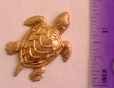 Turtle Realistic Raw Brass Jewelry Craft Altered Art Clay Mold Design