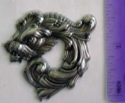 Dragon Round Gothic Silver Oxide Jewelry Craft Altered Art Clay Mold Design